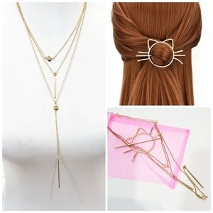 Golden multilayer necklace & cat hair pin gift set